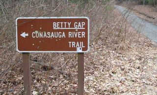 "Betty Gap Trail Sign"" height="